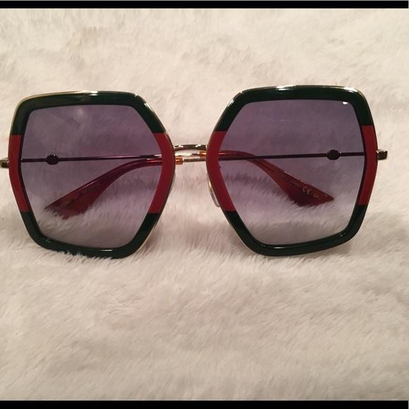 25990658c63 Gucci Accessories - GUCCI GG0106S GREEN GOLD - BLUE Sunglasses